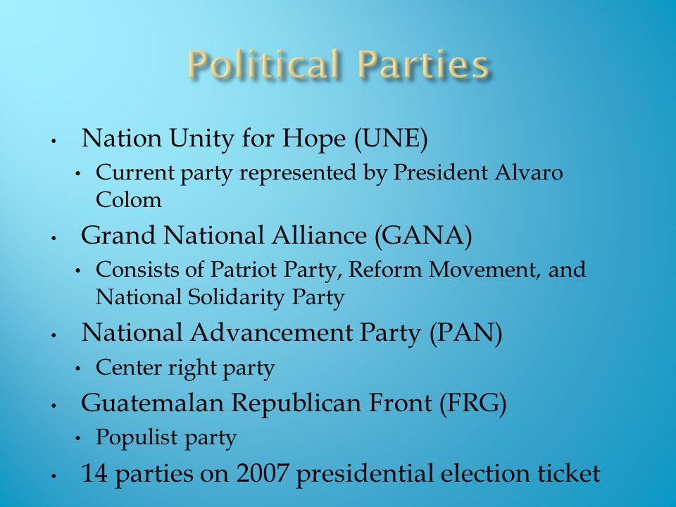 Nation Unity for Hope (UNE) Current party represented by President Alvaro Colom Grand National Alliance (GANA) Consists of Patriot Party, Reform Movem