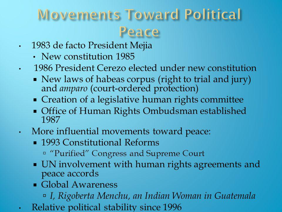 1983 de facto President Mejia New constitution 1985 1986 President Cerezo elected under new constitution New laws of habeas corpus (right to trial and