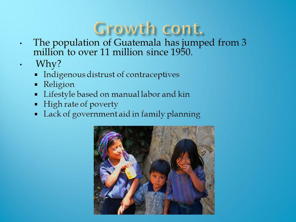 The population of Guatemala has jumped from 3 million to over 11 million since 1950. Why? Indigenous distrust of contraceptives Religion Lifestyle bas