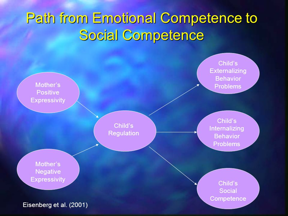 Path from Emotional Competence to Social Competence Mothers Positive Expressivity Mothers Negative Expressivity Childs Regulation Childs Externalizing Behavior Problems Childs Internalizing Behavior Problems Childs Social Competence Eisenberg et al.