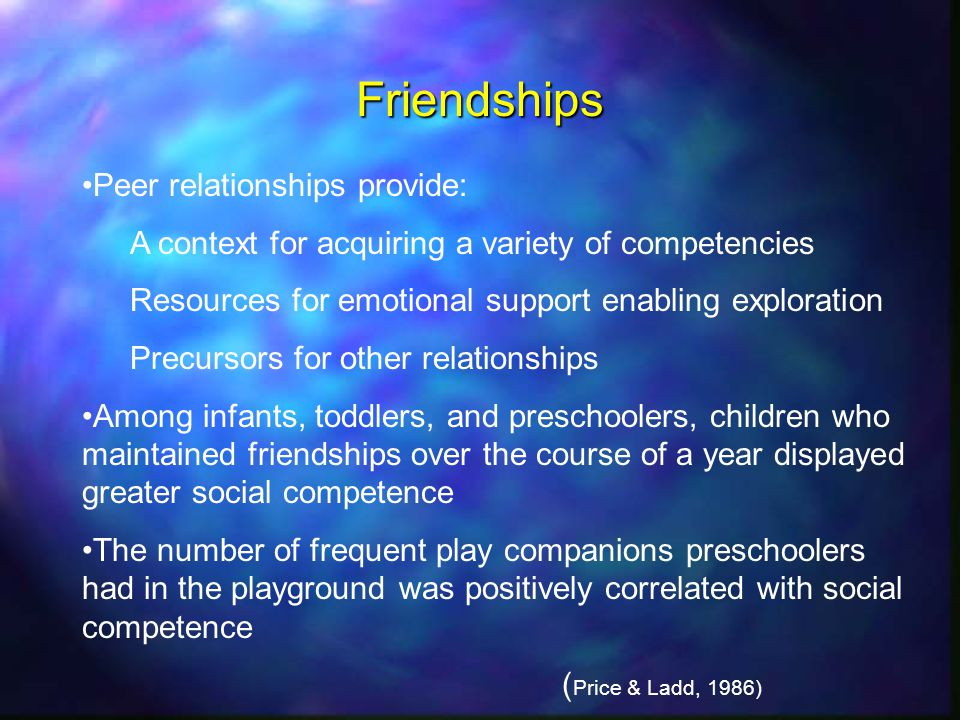 Friendships Peer relationships provide: A context for acquiring a variety of competencies Resources for emotional support enabling exploration Precursors for other relationships Among infants, toddlers, and preschoolers, children who maintained friendships over the course of a year displayed greater social competence The number of frequent play companions preschoolers had in the playground was positively correlated with social competence ( Price & Ladd, 1986)