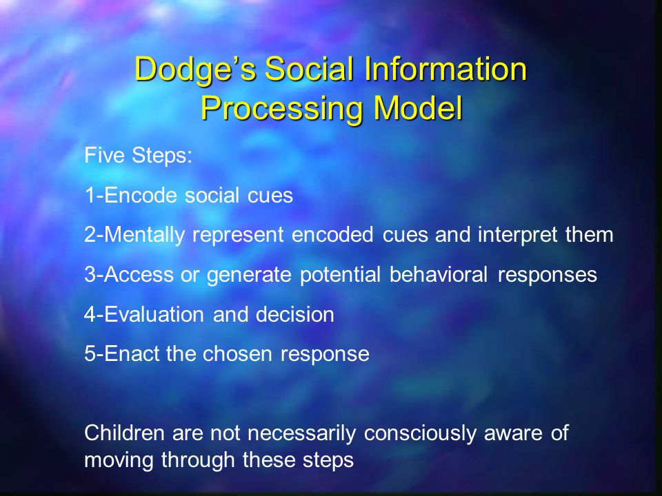 Dodges Social Information Processing Model Five Steps: 1-Encode social cues 2-Mentally represent encoded cues and interpret them 3-Access or generate potential behavioral responses 4-Evaluation and decision 5-Enact the chosen response Children are not necessarily consciously aware of moving through these steps