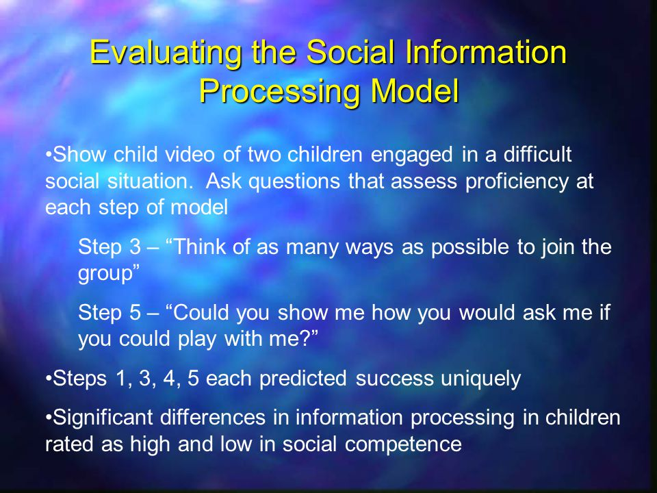 Evaluating the Social Information Processing Model Show child video of two children engaged in a difficult social situation.