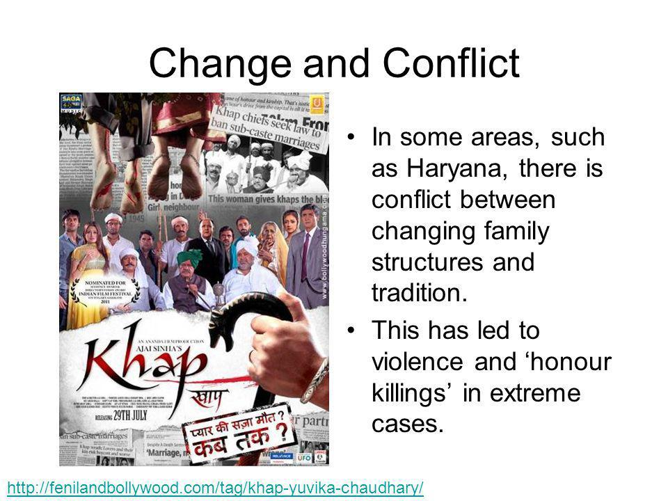 Change and Conflict In some areas, such as Haryana, there is conflict between changing family structures and tradition.