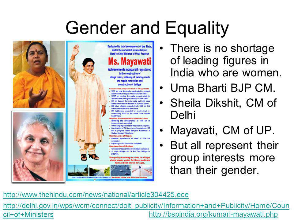 Gender and Equality There is no shortage of leading figures in India who are women.