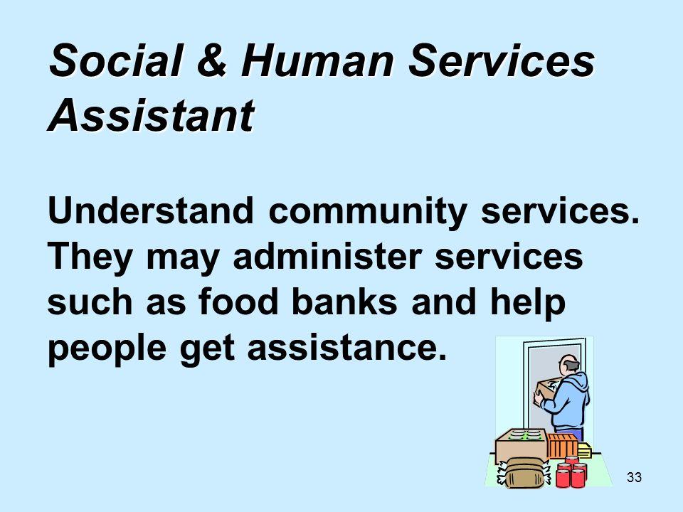 33 Social & Human Services Assistant Social & Human Services Assistant Understand community services.