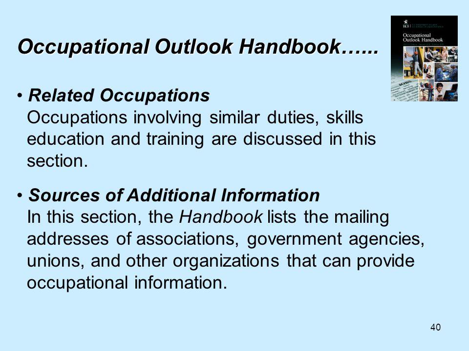 40 Occupational Outlook Handbook…...