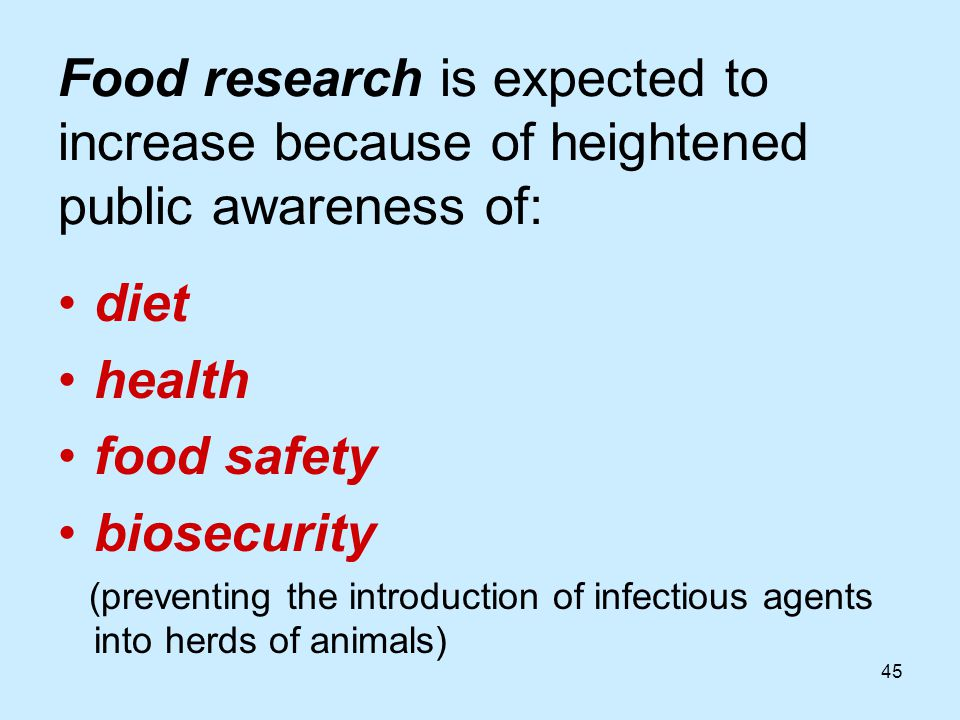 45 Food research is expected to increase because of heightened public awareness of: diet health food safety biosecurity (preventing the introduction of infectious agents into herds of animals)