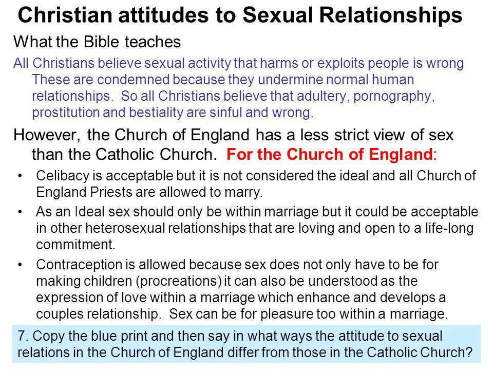 Christian attitudes to Sexual Relationships What the Bible teaches All Christians believe sexual activity that harms or exploits people is wrong These