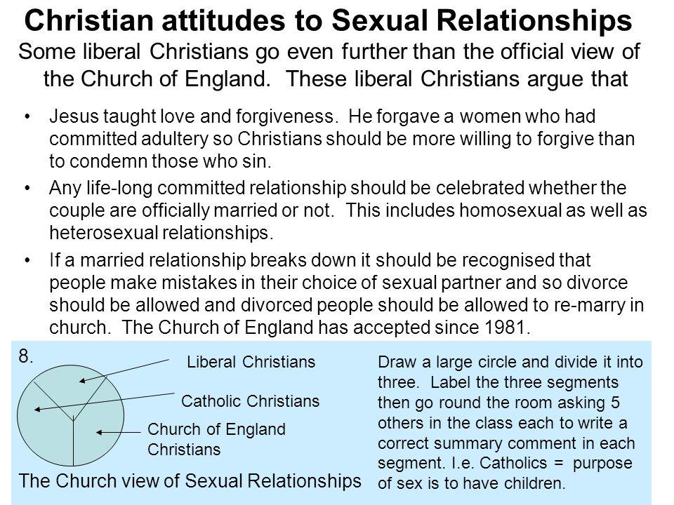 Christian attitudes to Sexual Relationships Some liberal Christians go even further than the official view of the Church of England. These liberal Chr