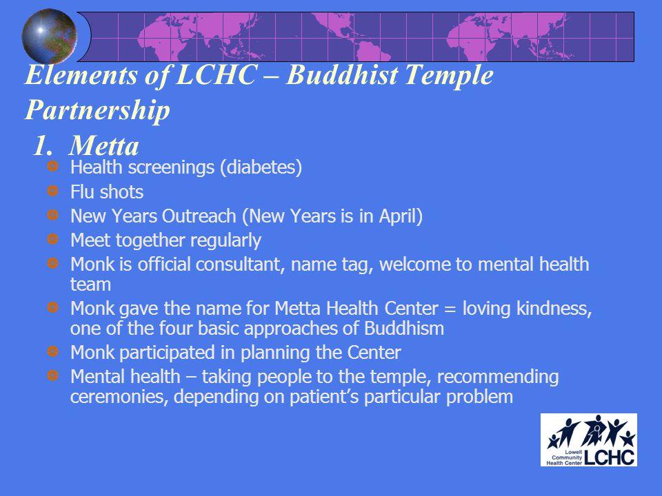 Elements of LCHC – Buddhist Temple Partnership 1.