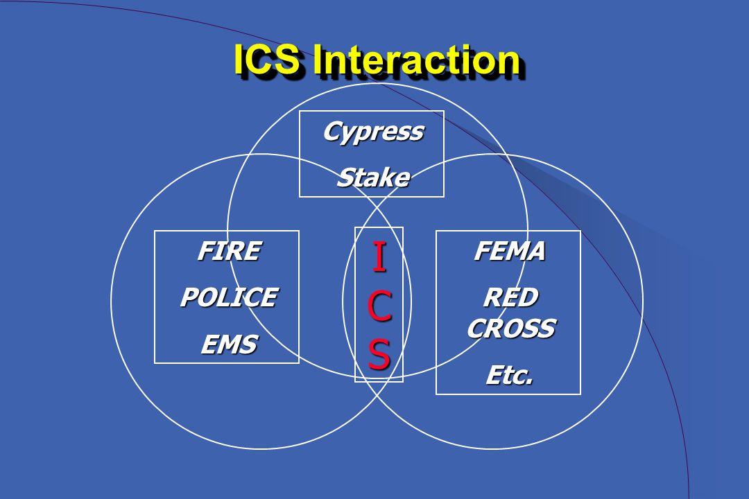 ICS Interaction Cypress Stake I C S FIREPOLICEEMSFEMA RED CROSS Etc.