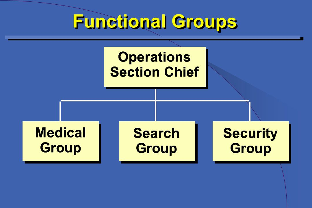Functional Groups Operations Section Chief Operations Section Chief Security Group Security Group Search Group Search Group Medical Group Medical Group