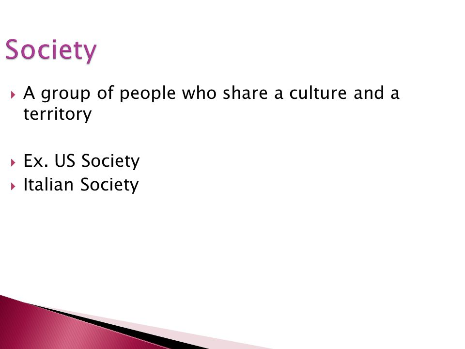 Society A group of people who share a culture and a territory Ex. US Society Italian Society