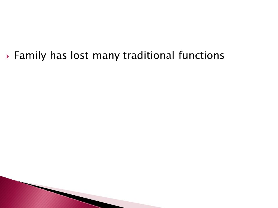 Family has lost many traditional functions
