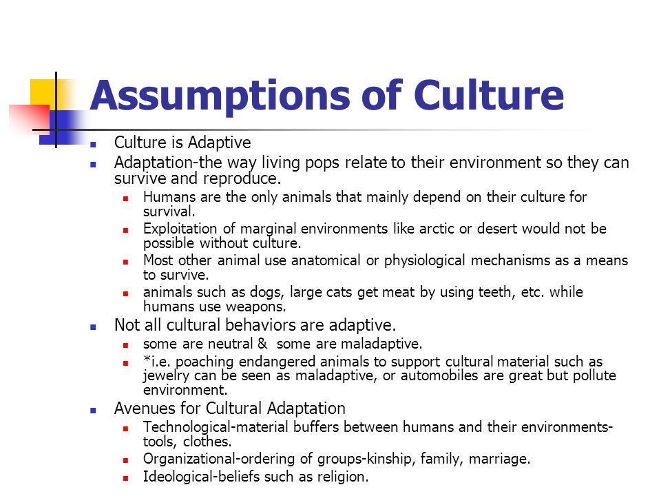 Assumptions of Culture Culture is Adaptive Adaptation-the way living pops relate to their environment so they can survive and reproduce. Humans are th