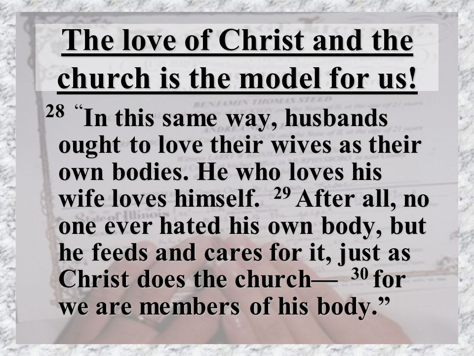 The love of Christ and the church is the model for us.