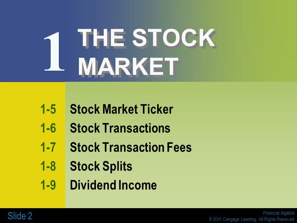 Financial Algebra © 2011 Cengage Learning. All Rights Reserved Slide 2 THE STOCK MARKET 1-5Stock Market Ticker 1-6Stock Transactions 1-7Stock Transact