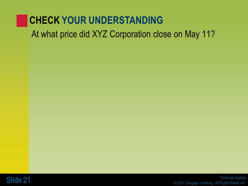 Financial Algebra © 2011 Cengage Learning. All Rights Reserved. Slide 21 At what price did XYZ Corporation close on May 11? CHECK YOUR UNDERSTANDING