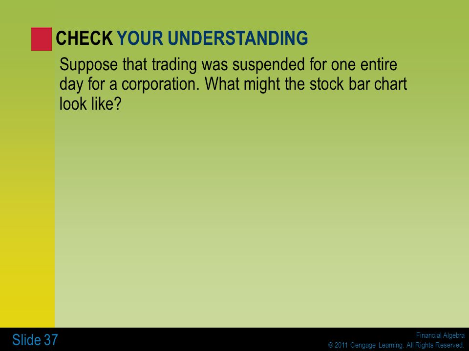 Financial Algebra © 2011 Cengage Learning. All Rights Reserved. Slide 37 Suppose that trading was suspended for one entire day for a corporation. What
