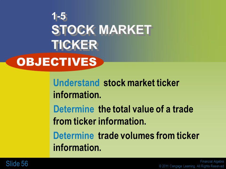 Financial Algebra © 2011 Cengage Learning. All Rights Reserved Slide 56 1-5 STOCK MARKET TICKER Understand stock market ticker information. Determine