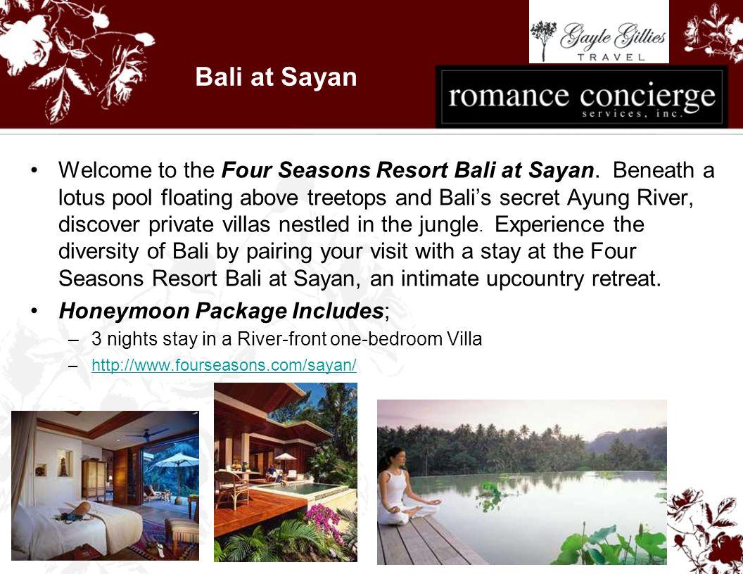 Bali at Sayan Welcome to the Four Seasons Resort Bali at Sayan.