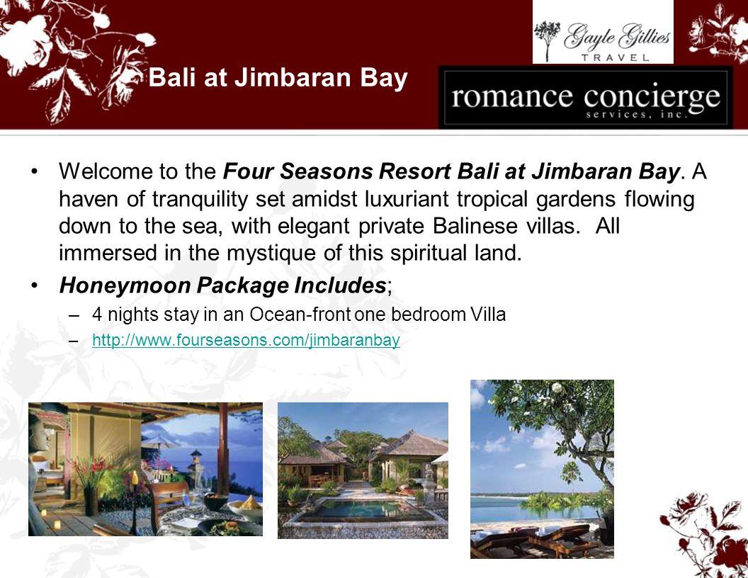 Bali at Jimbaran Bay Welcome to the Four Seasons Resort Bali at Jimbaran Bay.