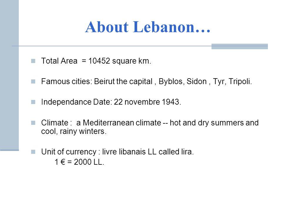About Lebanon… Total Area = 10452 square km.