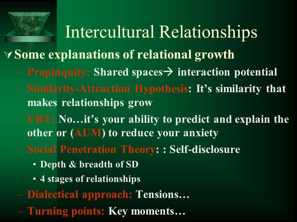 Intercultural Relationships Some explanations of relational growth –Propinquity: Shared spaces interaction potential –Similarity-Attraction Hypothesis