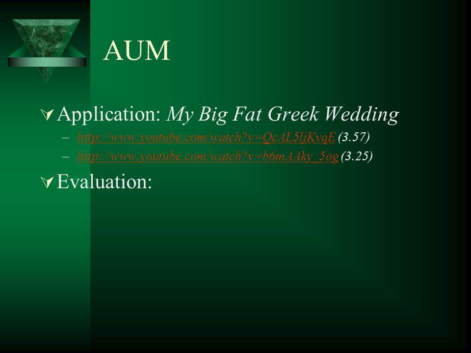 AUM Application: My Big Fat Greek Wedding –http://www.youtube.com/watch?v=QcAL5ljKvqE (3.57)http://www.youtube.com/watch?v=QcAL5ljKvqE –http://www.you