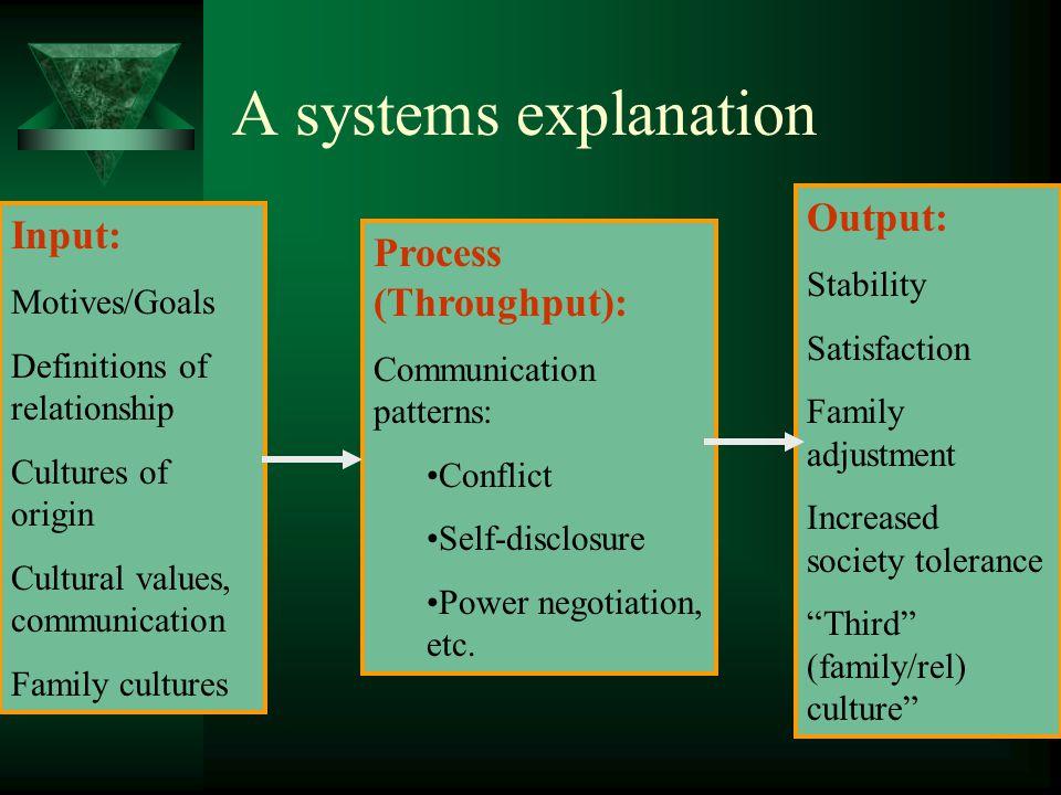 Process (Throughput): Communication patterns: Conflict Self-disclosure Power negotiation, etc. Input: Motives/Goals Definitions of relationship Cultur
