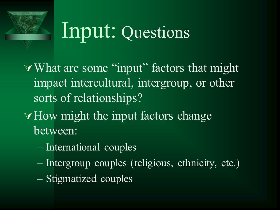 Input: Questions What are some input factors that might impact intercultural, intergroup, or other sorts of relationships? How might the input factors