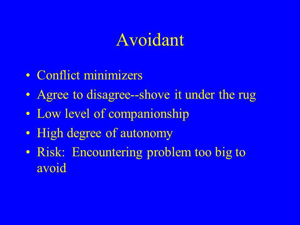 Avoidant Conflict minimizers Agree to disagree--shove it under the rug Low level of companionship High degree of autonomy Risk: Encountering problem too big to avoid