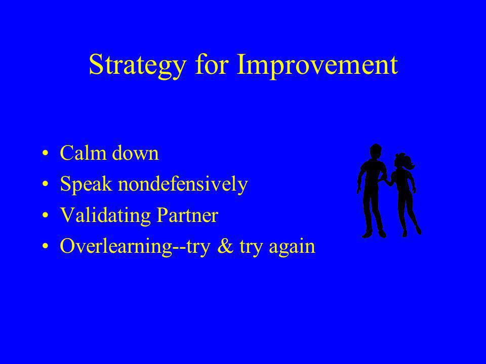Strategy for Improvement Calm down Speak nondefensively Validating Partner Overlearning--try & try again