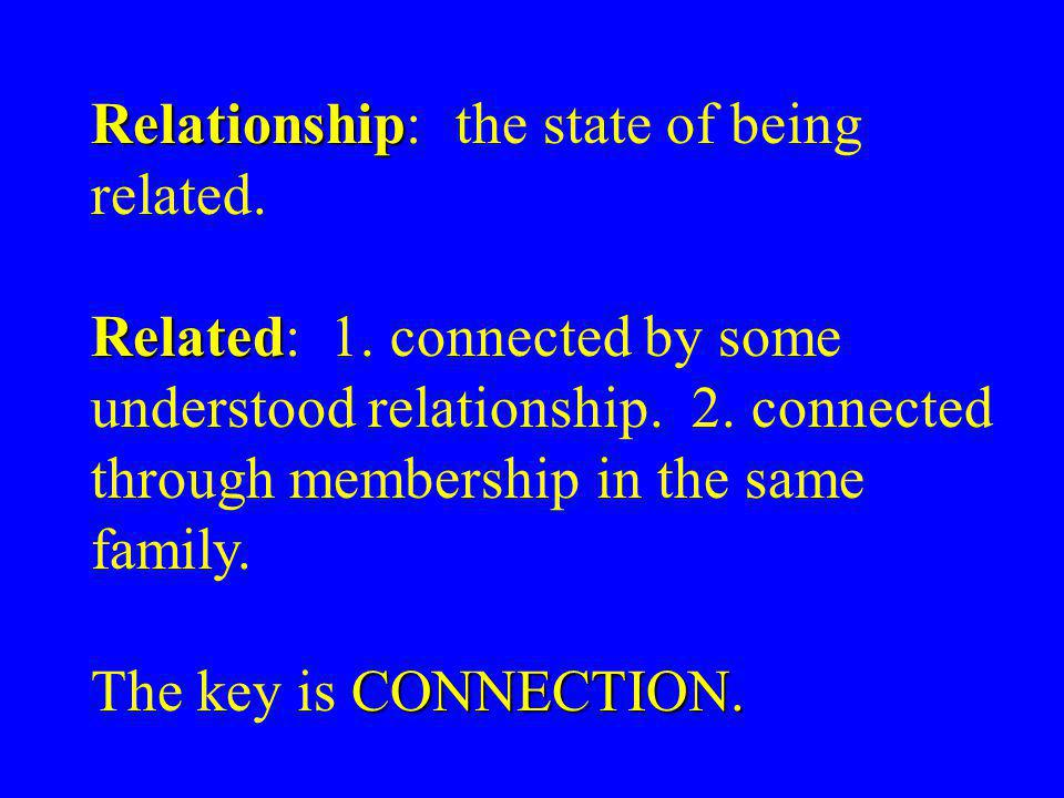 Relationship Relationship: the state of being related.