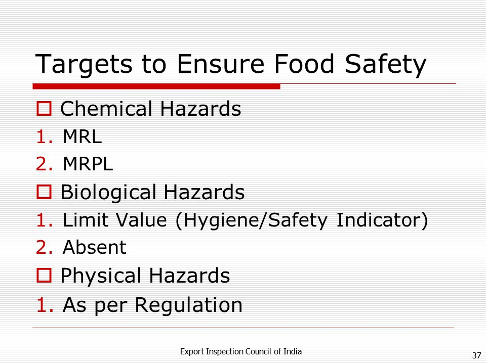 36 Export Inspection Council of India 36 Export Inspection Council of India REQUIREMENT OF Food Testing Estimated to be 10 folds by 2020 Estimated 200 Lakhs Food Business Operators in India Safe 3 Meals a day for over 1.2 Billions Critical Parameters: Environmental Contaminants (Dioxins, PCBs, PAHs,) Residues of antibiotics and its Epimers, Pesticides and its Isomers.