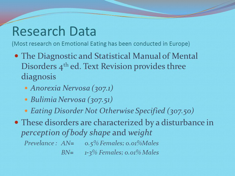 Research Data (Most research on Emotional Eating has been conducted in Europe) The Diagnostic and Statistical Manual of Mental Disorders 4 th ed.