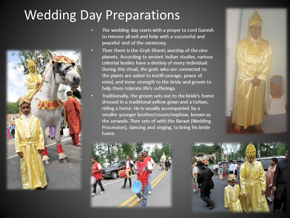 The Bride is dressed in a traditional Indian Bridal Gown, usually red or yellow.