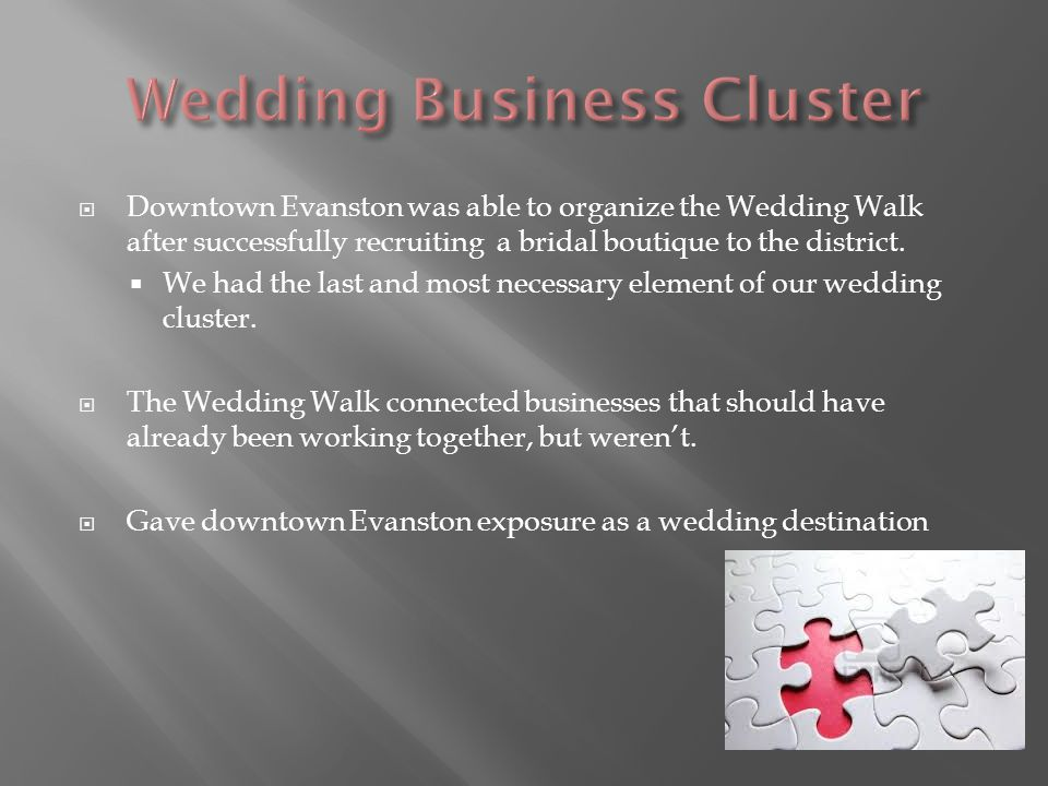 Downtown Evanston was able to organize the Wedding Walk after successfully recruiting a bridal boutique to the district.