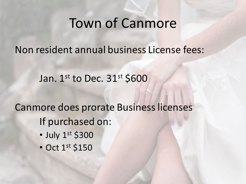Town of Canmore Non resident annual business License fees: Jan.