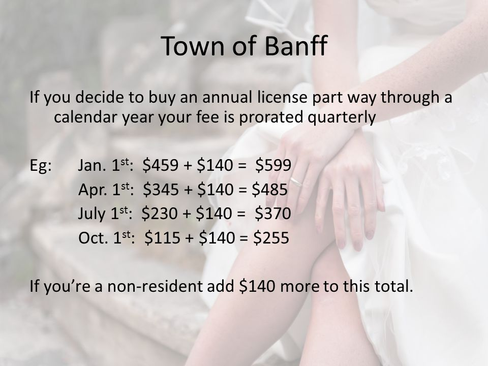 Town of Banff If you decide to buy an annual license part way through a calendar year your fee is prorated quarterly Eg: Jan.