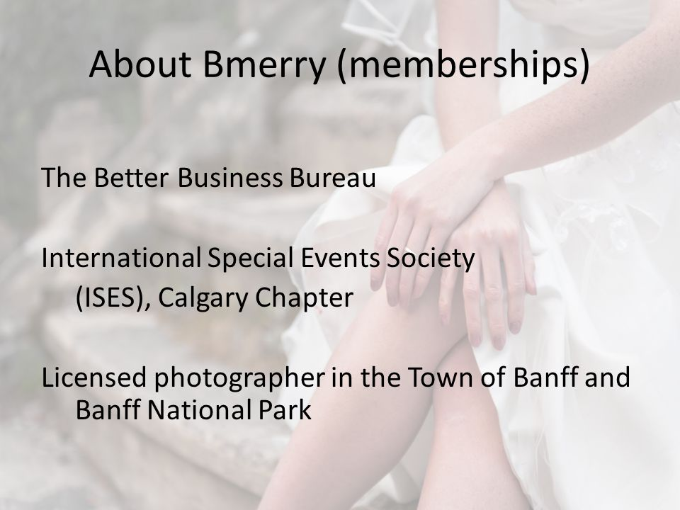 Background A few Banff Businesses are reporting unlicensed wedding professionals This has been happening since at least 1997 A very small part of the Banff wedding industry does this.