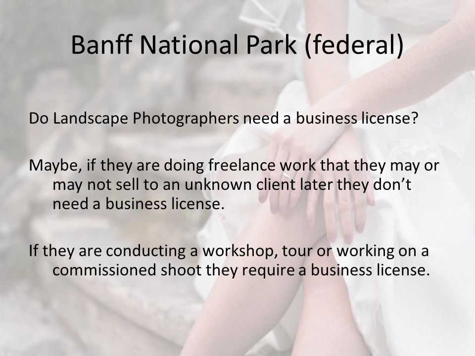 Banff National Park (federal) Do Landscape Photographers need a business license.