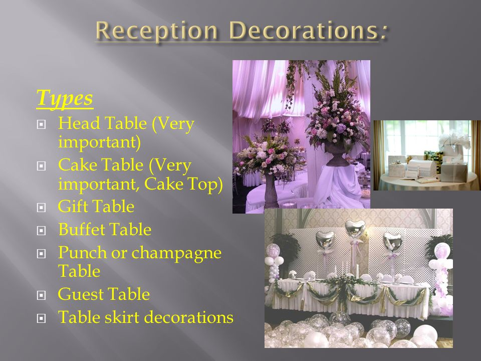 Types Head Table (Very important) Cake Table (Very important, Cake Top) Gift Table Buffet Table Punch or champagne Table Guest Table Table skirt decorations