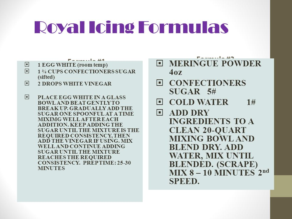 Royal Icing Formulas Formula #1 1 EGG WHITE (room temp) 1 ¾ CUPS CONFECTIONERS SUGAR (sifted) 2 DROPS WHITE VINEGAR PLACE EGG WHITE IN A GLASS BOWL AN