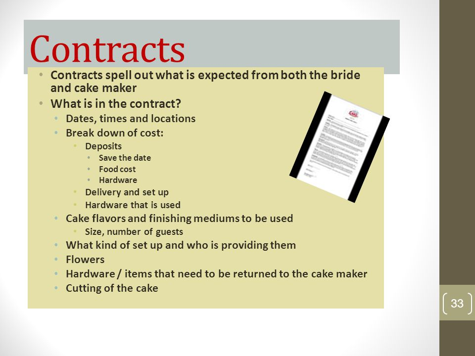 Contracts Contracts spell out what is expected from both the bride and cake maker What is in the contract? Dates, times and locations Break down of co