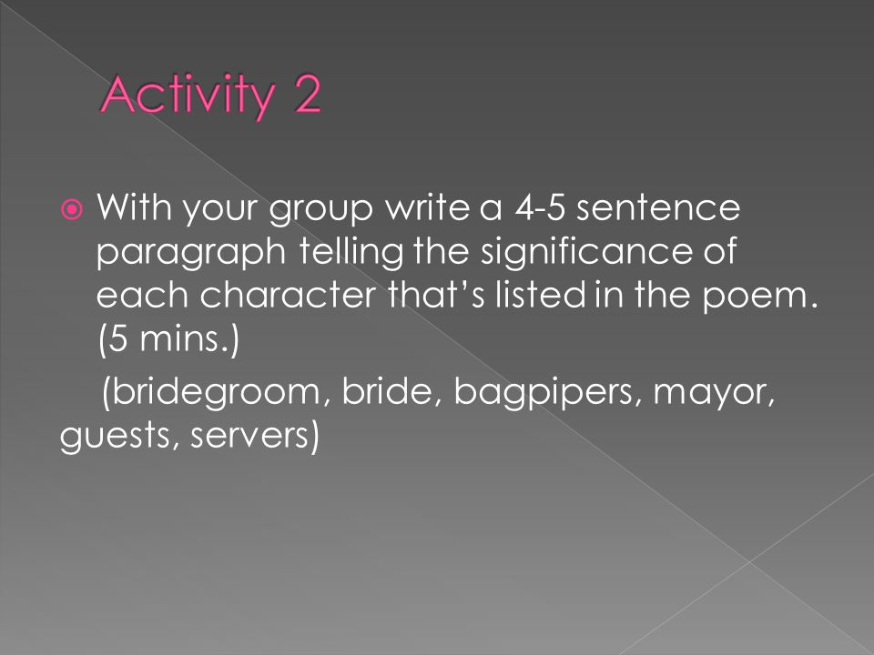 With your group write a 4-5 sentence paragraph telling the significance of each character thats listed in the poem.