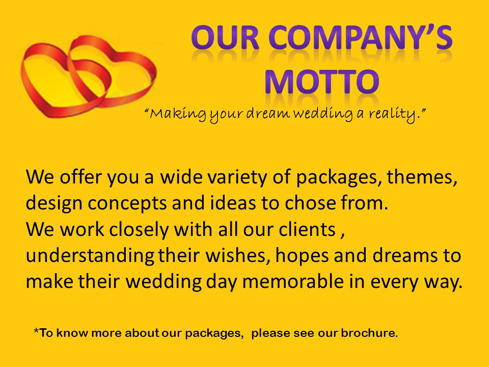 Making your dream wedding a reality.
