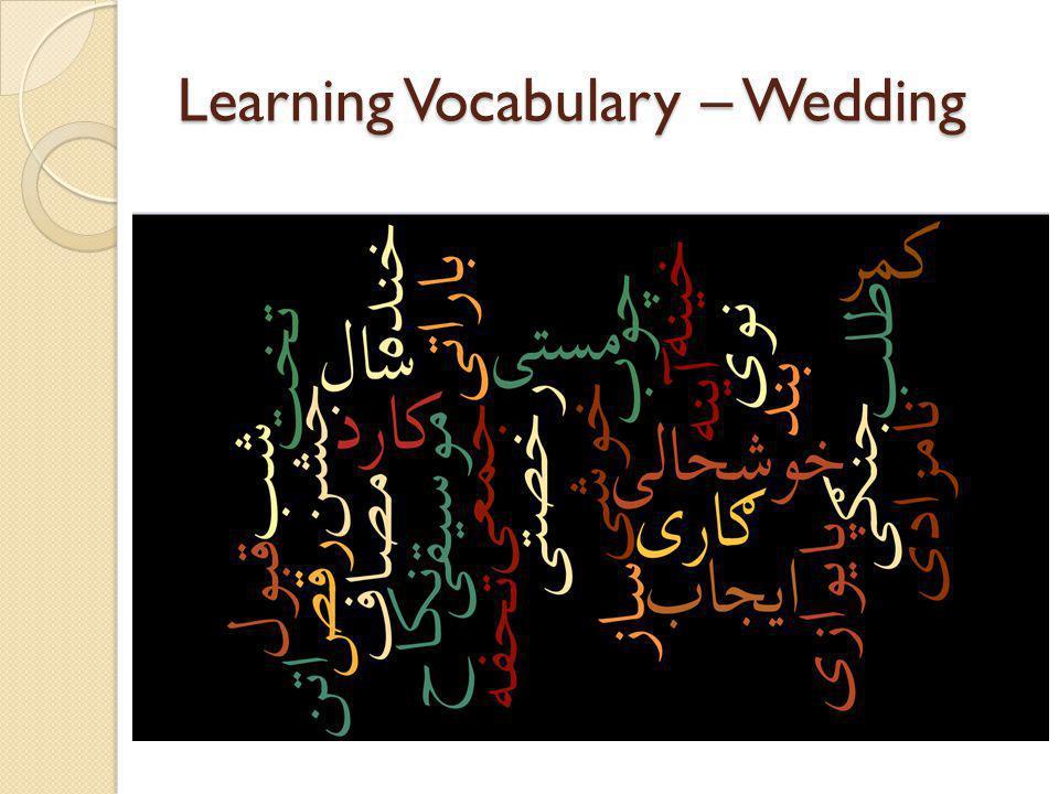 Learning Vocabulary – Wedding