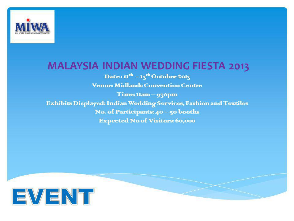 MALAYSIA INDIAN WEDDING FIESTA 2013 Date : 11 th - 13 th October 2013 Venue: Midlands Convention Centre Time: 11am – 930pm Exhibits Displayed: Indian